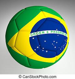 Soccer Ball With Brazil Flag