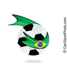 Soccer Ball with Brazilian Flag of