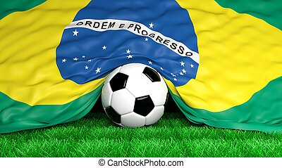 Soccer ball with Brazilian flag on football field closeup