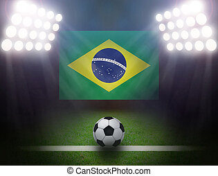 Soccer Ball with Brazilian in stadium.