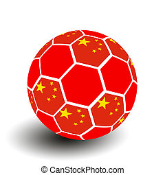Soccer ball with Chinese flag