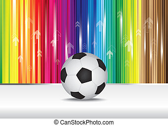 Soccer ball with color stripe background.