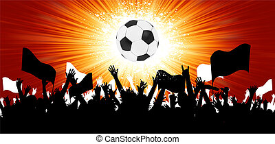 Soccer ball with crowd silhouettes of fans. EPS 8