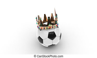 Soccer ball with crown on white background. HD.