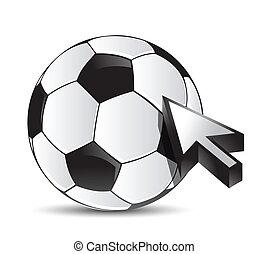 soccer ball with cursor arrow - sport shopping