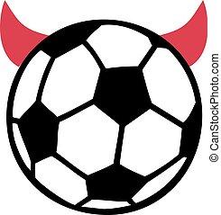 Soccer ball with devil horns