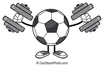 Soccer Ball With Dumbbells - Soccer Ball Faceless Cartoon...