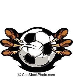 Vector Cartoon of Eagle Talons Holding a Soccer Ball