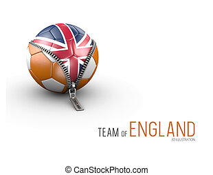 Soccer ball with England flag isolated on white background. 3d Illustration