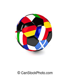 Soccer ball with European flags, 3d rendering