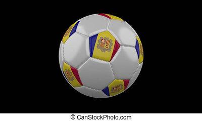 Soccer ball with flag Andorra, alpha loop - Soccer ball with...