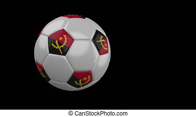 Soccer ball with flag Angola, slow motion blur, 4k footage with alpha channel
