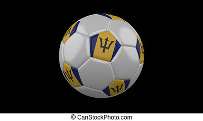 Soccer ball with flag Barbados, 4k with alpha, loop
