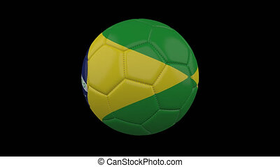 Soccer ball with flag Brazil, alpha loop - Soccer ball with...