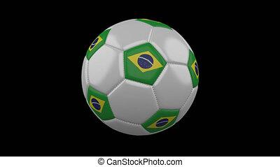 Soccer ball with flag Brazil, loop, 4k alpha