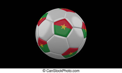 Soccer ball with flag Burkina Faso loop 4k with alpha