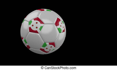 Soccer ball with flag Burundi, slow motion blur, 4k footage with alpha channel