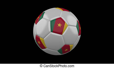 Soccer ball with flag Cameroon loop 4k with alpha - Soccer...