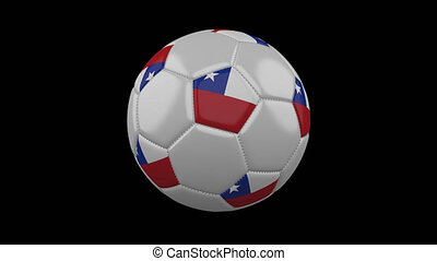 Soccer ball with flag Chile, loop, 4k alpha