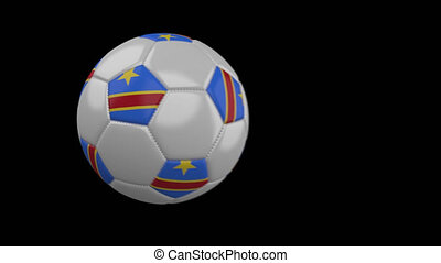 Soccer ball with flag Congo DR, slow motion blur, 4k footage...