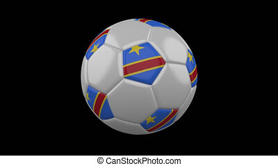 Soccer ball with flag Democratic Republic of Congo loop 4k...