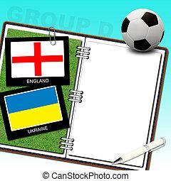 Soccer ball with flag england and ukraine