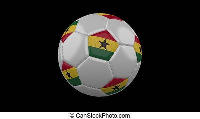 Soccer ball with flag Ghana loop 4k with alpha - Soccer ball...