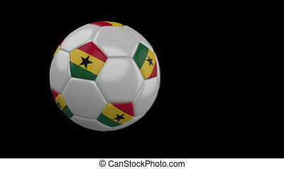 Soccer ball with flag Ghana, slow motion blur, 4k footage...