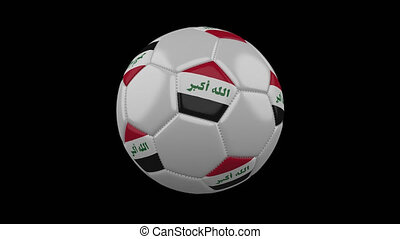 Soccer ball with flag Iraq, alpha loop - Soccer ball with...