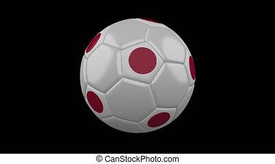 Soccer ball with flag Japan, loop, 4k alpha