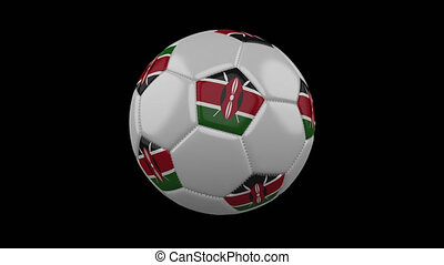 Soccer ball with flag Kenya loop 4k with alpha