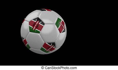 Soccer ball with flag Kenya, slow motion blur, 4k footage...