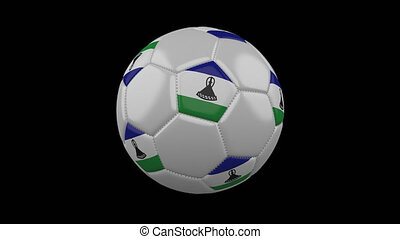 Soccer ball with flag Lesotho loop 4k with alpha