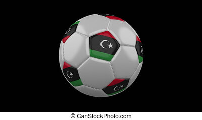 Soccer ball with flag Libya loop 4k with alpha