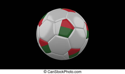Soccer ball with flag Madagascar loop 4k with alpha