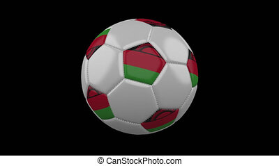 Soccer ball with flag Malawi loop 4k with alpha