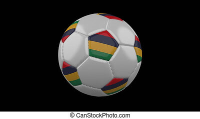 Soccer ball with flag Mauritius loop 4k with alpha