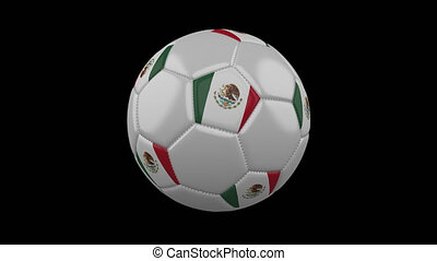 Soccer ball with flag Mexico, 4k with alpha, loop