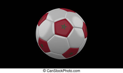 Soccer ball with flag Morocco loop 4k with alpha
