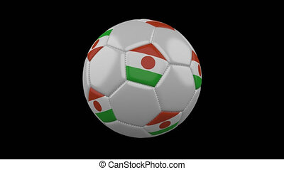 Soccer ball with flag Niger loop 4k with alpha