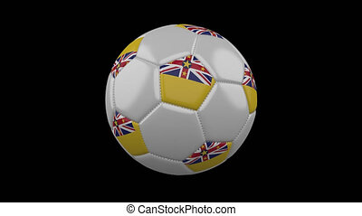 Soccer ball with flag Niue, 4k with alpha, loop - Soccer...