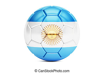 soccer ball with flag of Argentina, 3D rendering