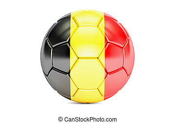 soccer ball with flag of Belgium, 3D rendering