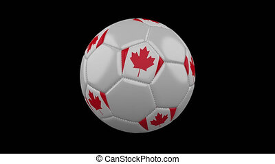 Soccer ball with flag of Canada, 4k prores with alpha, loop