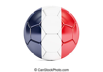 soccer ball with flag of France, 3D rendering