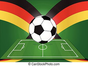 Soccer ball with flag of germany background, vector illustration
