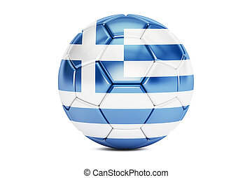 soccer ball with flag of Greece, 3D rendering