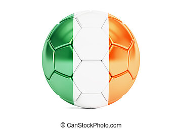 soccer ball with flag of Ireland, 3D rendering