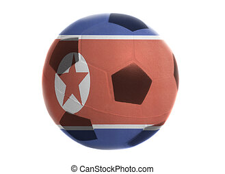 Soccer ball with flag of North Korea isolated