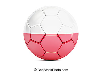 soccer ball with flag of Poland, 3D rendering
